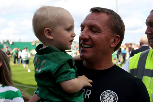 Brendan Rodgers with his nephew Malachy Rodgers after the game