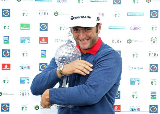 Jon Rahm celebrates his victory