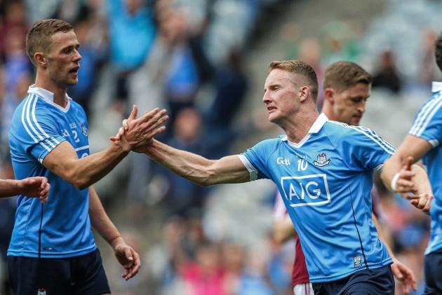 Ciaran Kilkenny celebrates scoring a goal with Paul Mannion