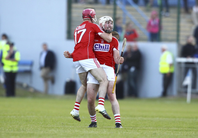 Declan Dalton and David Lowney celebrate at the end of the game