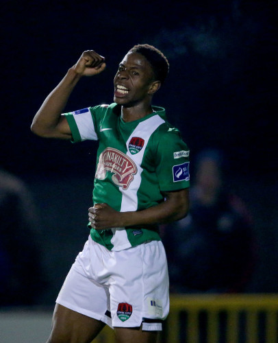 Chiedozie Ogbene celebrates scoring a goal