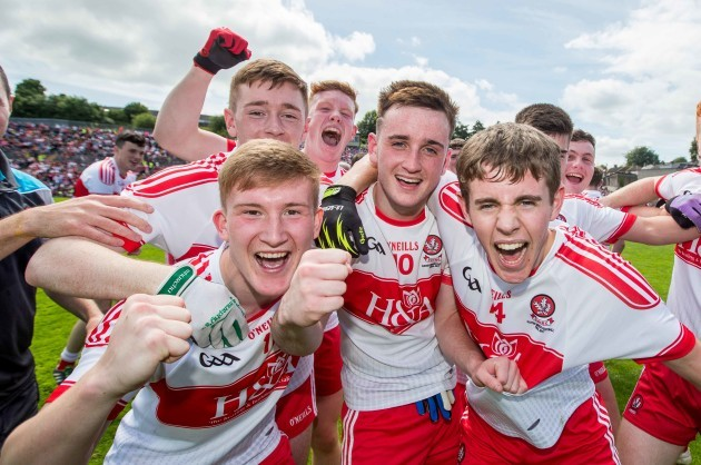 Derry players celebrate