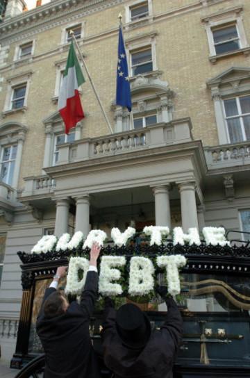 International Debt Protest in London - Grosvenor Square