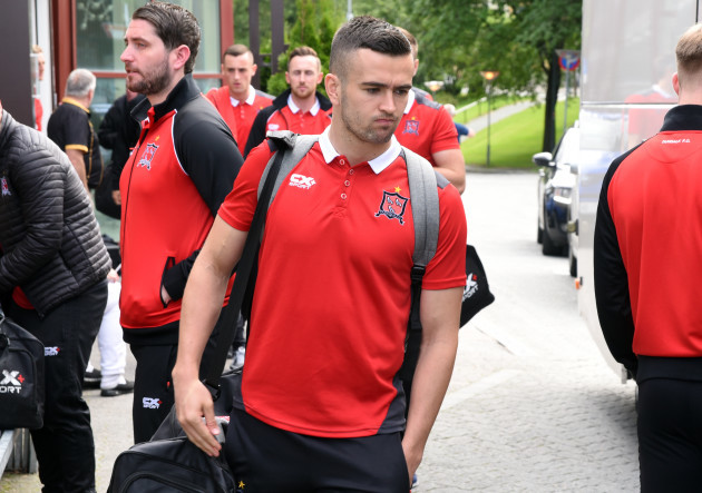 Michael Duffy leaving the team hotel