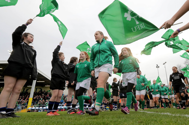 Niamh Briggs leads the team out