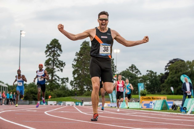 Brian Gregan celebrates winning the Men's 400m in a new personal best time