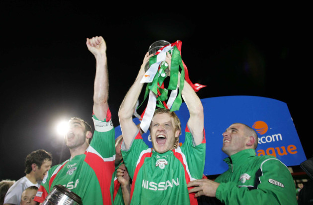 Cork City's Colin O'Brien celebrates winning the League