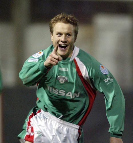 Colin T.O'Brien celebrates scoring