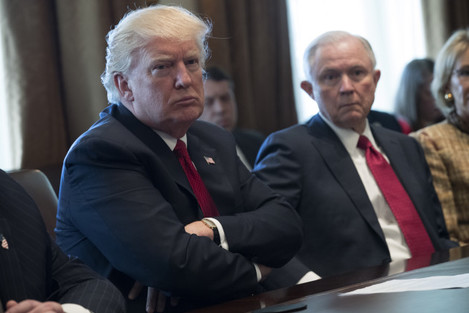 US President Donald J. Trump hosts an opioid and drug abuse liste