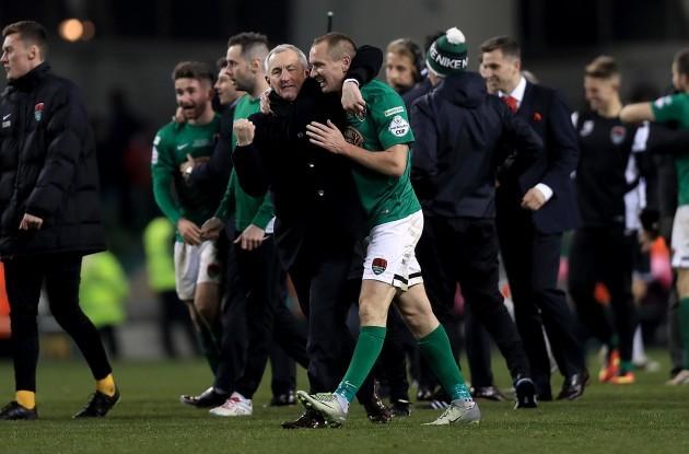 John Caulfield celebrates with Colin Healy