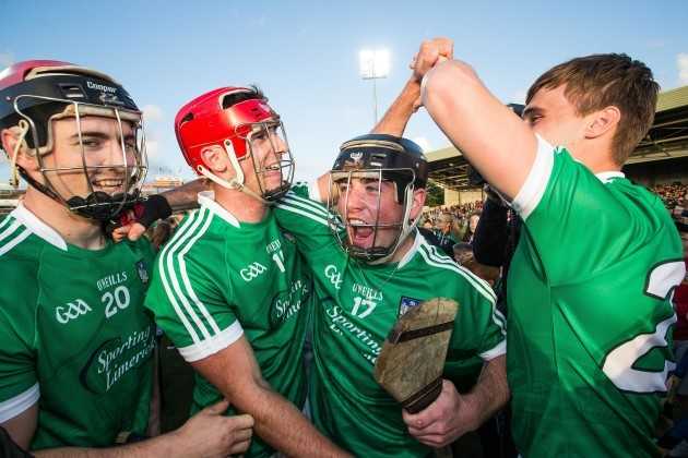 Lorcan Lyons, /Eoghan McNamara, Paudie Ahern and Brian Ryan celebrates after the game