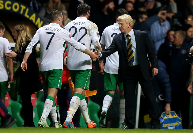 Aiden McGeady and manager Gordon Strachan at the final whistle