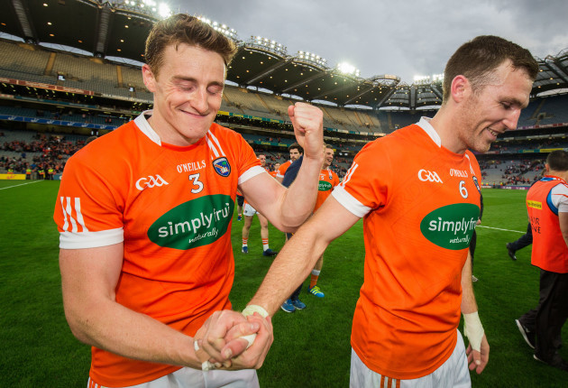 Charlie Vernon and Brendan Donaghy celebrate after the game