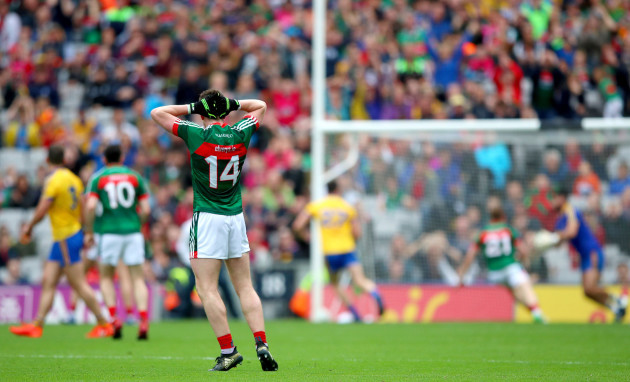 Cillian O'Connor reacts to a late chance