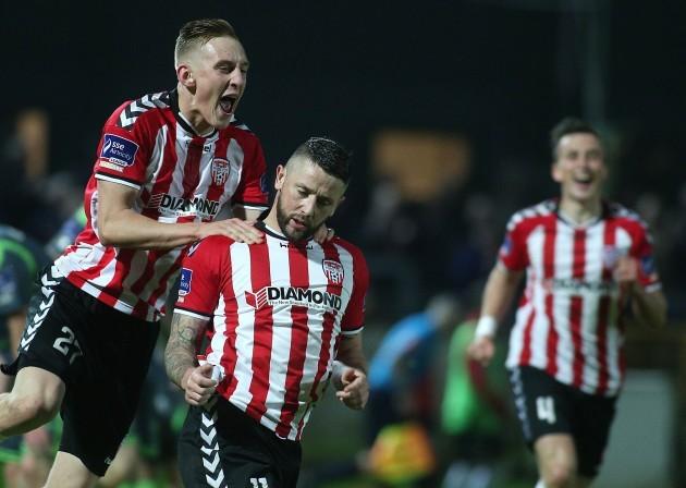 Rory Patterson celebrates scoring