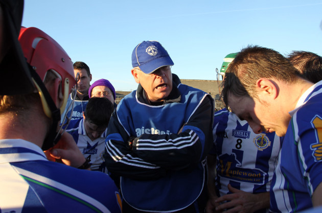 Liam Hogan speaks to his players