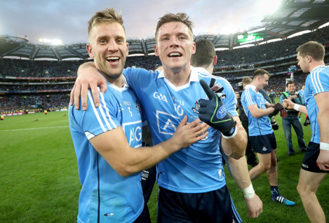Jonny Cooper and Paul Flynn celebrate after the game