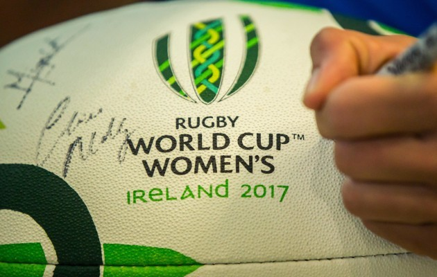 A general view of a Women's Rugby World Cup ball being signed