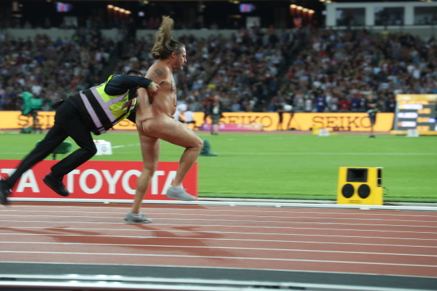 Athletics 2017: IAAF: 100m Men's: Pre Race: The Streaker