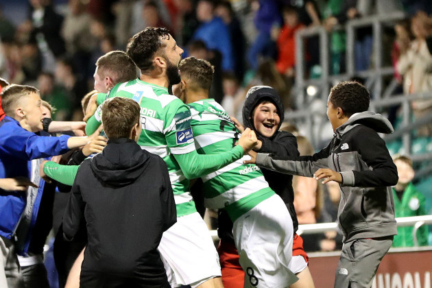 Shamrock Rovers fans invade the pitch after James Doona scores a goal