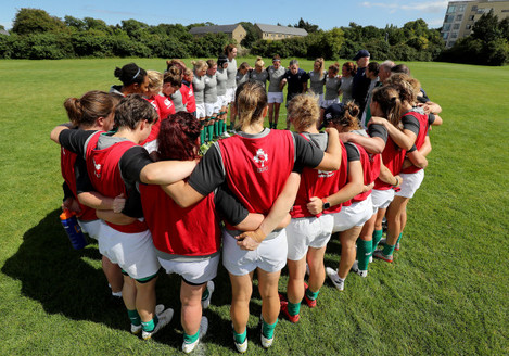 A view of the team huddle