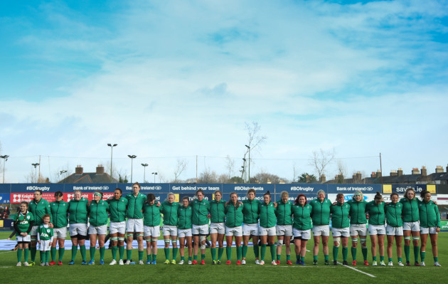 The Ireland team stand for the National Anthem