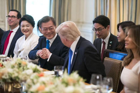 DC: President Donald Trump and South Korean President Moon Jae-in have dinner at the White House