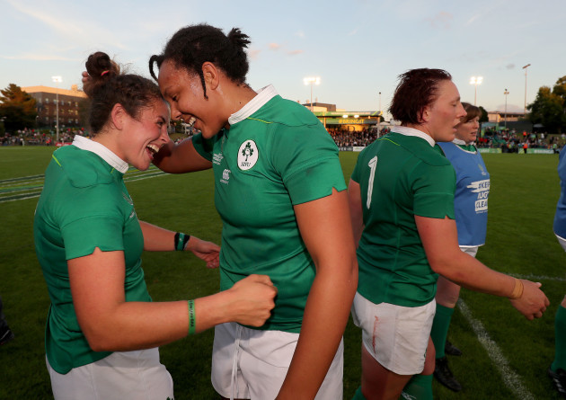 Larissa Muldoon and Sophie Spence celebrate winning