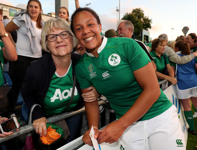 Sophie Spence celebrates winning with her mum Myrtle