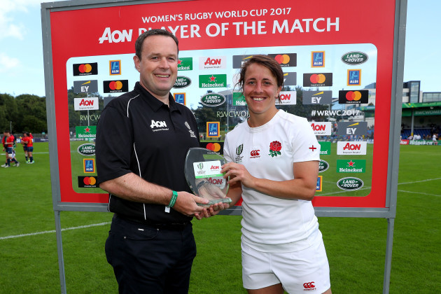 Katy Mclean is presented player of the match by Rory Maloney from AON