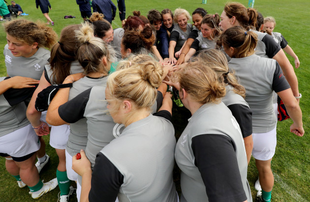 A view of the team huddle at the end of training