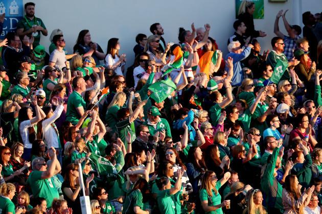 Ireland fans celebrate a try