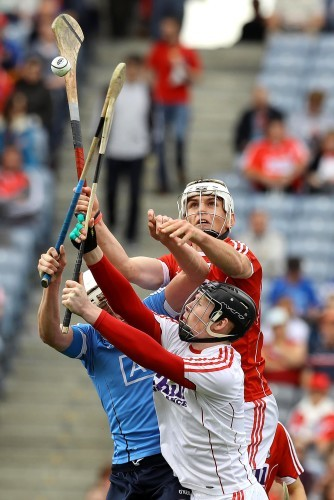 Cork's Sean O'Leary Hayes rises highest to contest a dropping ball