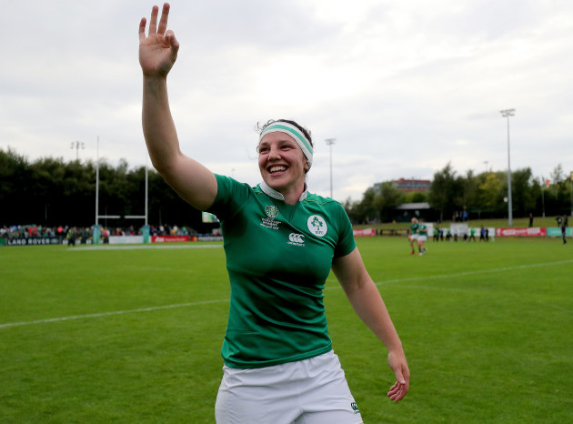 Paula Fitzpatrick celebrates after the game