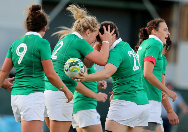 Ciara Griffin celebrates scoring their second try of the game with Cliodhna Moloney