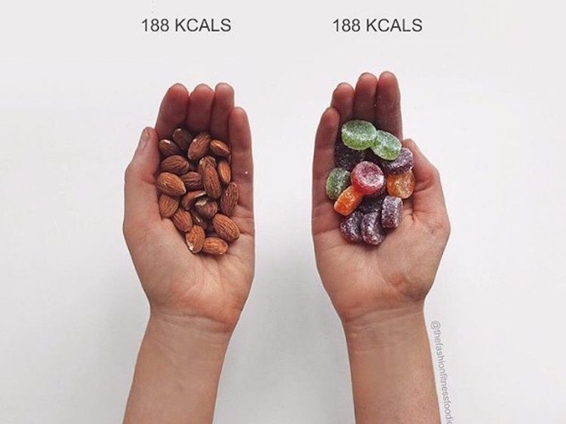 mountain-likes-to-show-that-foods-that-have-been-deemed-healthy--like-almonds-often-have-just-as-many-calories-as-foods-that-have-been-deemed-unhealthy--like-candy