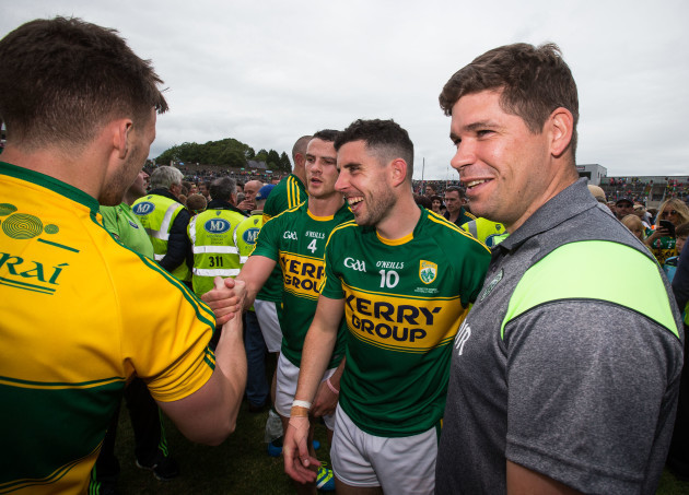 Shane Enright, Michael Geaney and manager Eamonn Fitzmaurice