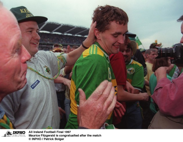 All Ireland Football Final 28/9/1997 Maurice Fitzgerald is congratualted after the match