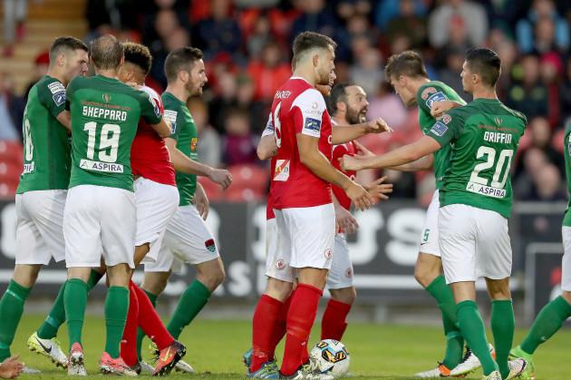 Cork and Sligo Rovers players after a foul on Greg Bolger