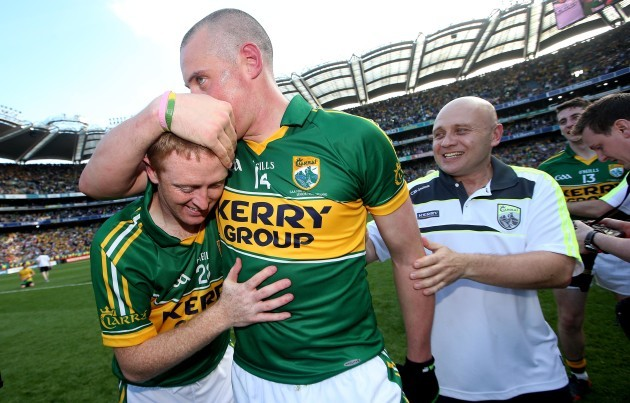 Kieran Donaghy celebrates with Colm Cooper after the game