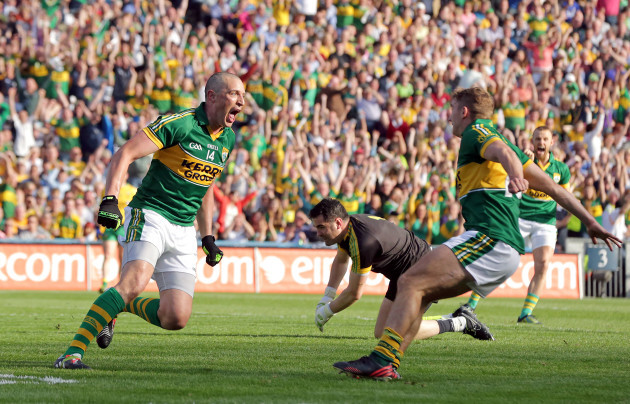 Kieran Donaghy celebrates scoring a goal with James O'Donoghue