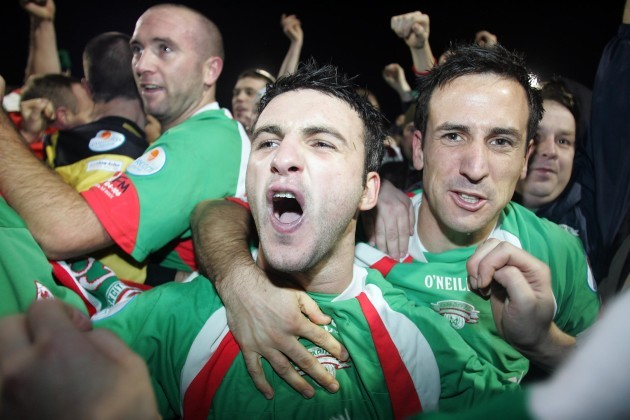 Cork City's Danny Murphy and Neale Fenn celebrate winning the League