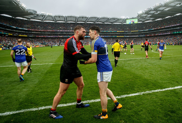 Aidan O'Shea exchanges words with Paul Geaney