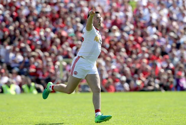Ronan O'Neill celebrates scoring his first goal