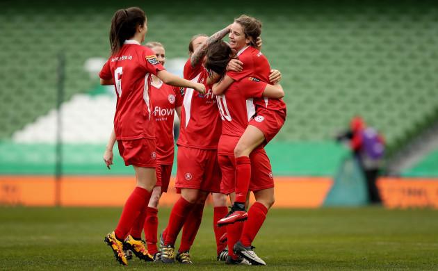 Leanne Kiernan celebrates scoring with her teammates