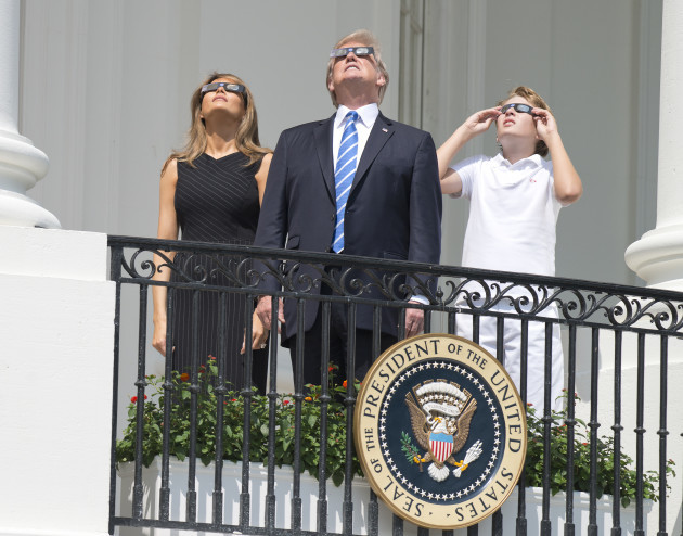 Trumps Watch Solar Eclipse - Washington