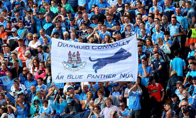 Dublin fans with a Diarmuid Connolly flag