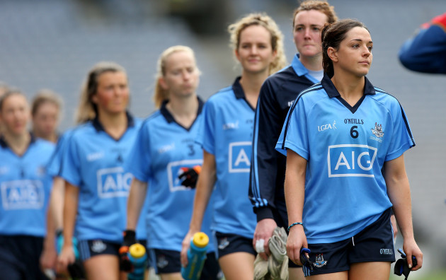 Sinead Goldrick leads her team during the parade