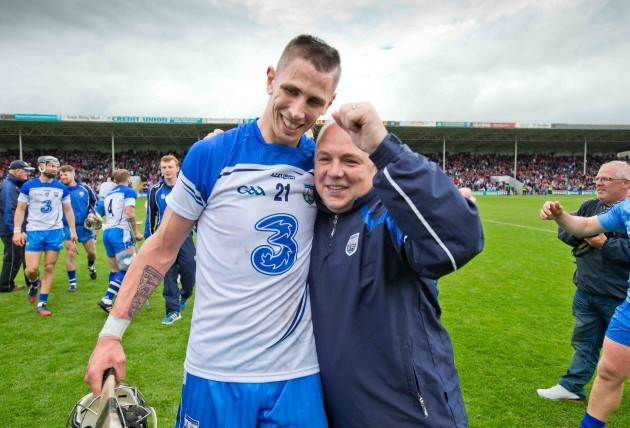Maurice Shanahan celebrates with manager Derek McGrath after the game