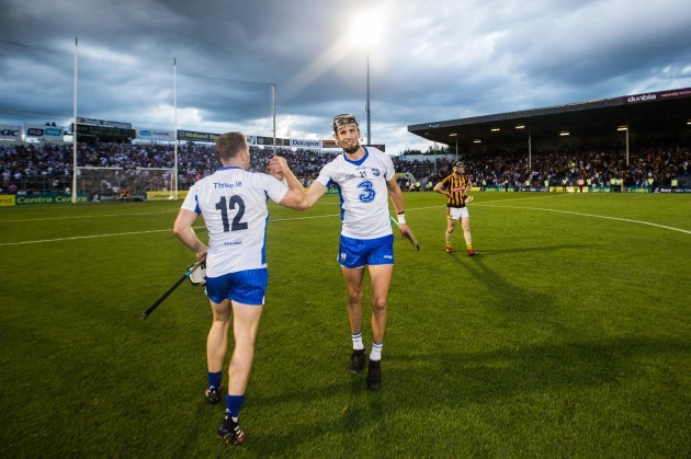 Maurice Shanahan celebrates after the game with Jake Dillon